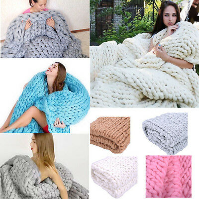 Ultra Soft Warm Wool Chunky Knit Blanket Throw Afghan Yarn Handmade Home Decor