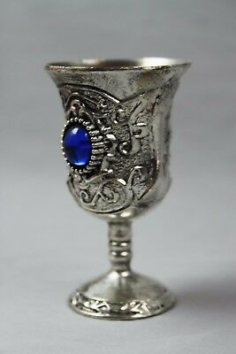 Chinese Collectable Miao Silver Carved Flower Inlay Bead Elegant Wine Cups