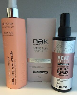 NEW unopened hair products Nak structure complex Davroe detangler Juice heat