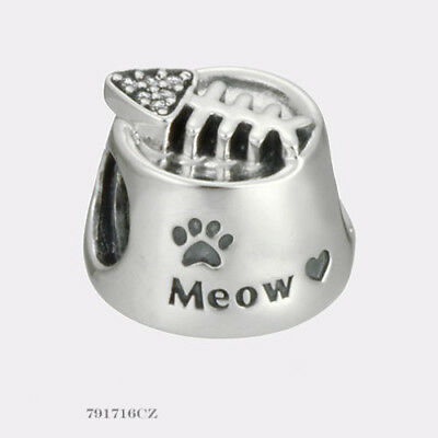 edeee3fff New Authentic Pandora silver S925 ALE 791716cz Meow cat bowl slide bead  Charm