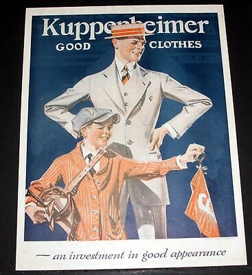 1921 Old Magazine Print Ad, Kuppenheimer, An Investment In Good Appearance, Art!