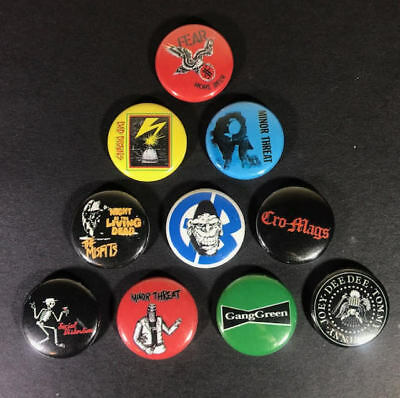 "Punk Hardcore 80's 1"" PIN BUTTON lot Bad Brains Fear Minor Threat Misfits Ramone"