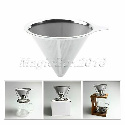 New Pour Over Cone Dripper Reusable Coffee Filter w Cup Stand Stainless Steel
