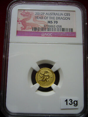 2012-P Australia NGC MS-70 Year of the Dragon 1/20 oz Dragon Label TOP POP #1024