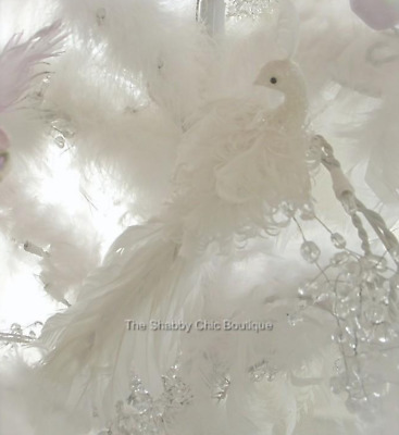 Pretty Shabby Feather Christmas Tree Chic White Feather Decoration Ornament Bird