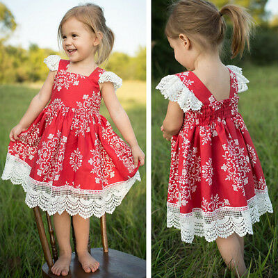 AU Toddler Infant Baby Girl Princess Party Pageant Red Skirt Tutu Floral Dress