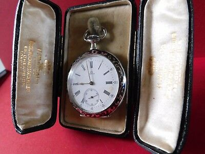 ANTIQUE NIELLO 900 SOLID SILVER OMEGA POCKET WATCH with ORIGINAL TRAVEL CASE