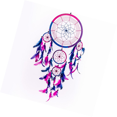 Caught Dreams Dream Catcher ~ Handmade Traditional Royal Blue, Pink and Purple 8
