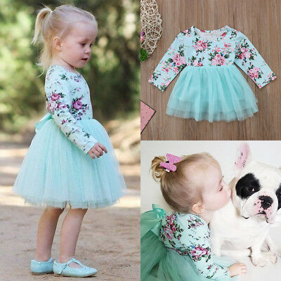 Kid Baby Girls Long Sleeve Floral Party Pageant Formal Tulle Dress Clothes USA