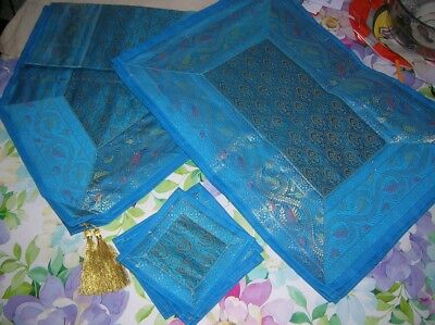 Exotic Blue Gold 6 Place TABLE SET & Centre Runner Placemats Coasters Christmas