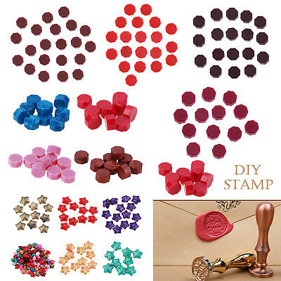 100x Colorful Seal Letters Stamp Invitation Card Paint Sealing Melting Beads Wax