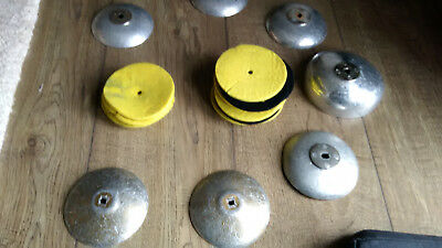 15 foil fencing pads and used foil guards and one epee guard, suit armourer