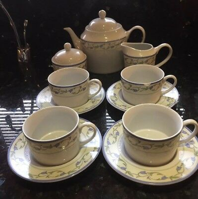 Johnson Bros La Rochelle 11 Piece Tea Set.4 cups/saucer, T-pot, sugar & lid, jug