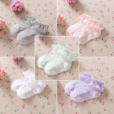 Baby Girls Frilly Lace Low Cut Ankle High Cotton Socks Princess Wedding Socks