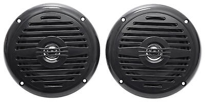 "Pair Rockville MS525B 5.25"" 400 Watt Waterproof Marine Boat Speakers 2-Way Black"