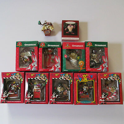 Lot of 11 Taz Tasmanian Devil Christmas Tree Ornaments Looney Tunes with Boxes