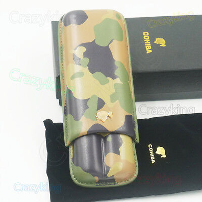 New Cohiba Camouflage Cowhide Leather Holder 2 Tube Travel Cigar Case Humidor