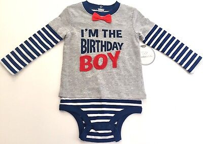 Birthday Shirt Boys 12-18 Months Bodysuit Bow Tie & Suspenders Smash Outfit NEW!