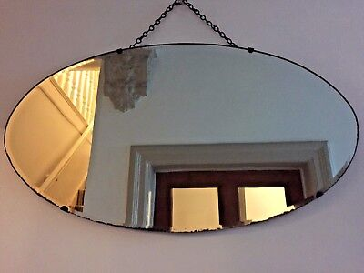 VINTAGE Frameless Bevelled Wall MIRROR Art Deco OVAL 1930s 1940s Original Chain