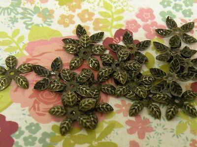 40 Bronze Bead Caps 5 Petal Leaf 15mm Buy2 Get 1 Free FLAT SHIP