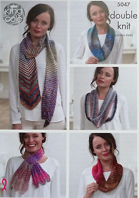 KNITTING PATTERN Ladies Striped & Lacy Scarves and Cowls/Snood DK King Cole 5047