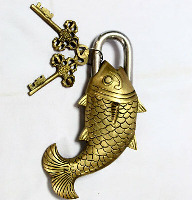 ANTIQUE Style FISH Type Padlock - Lock with Key - Brass Made (5052)