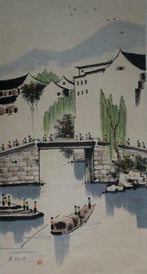 """Chinese Old Wu Guanzhong Scroll Painting Landscape 77"""""""