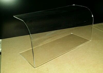 Curved Sneeze Guard Screen Clear Acrylic Perspex Food Cake Display 500mm long