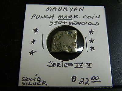 "Indian Mauryan 6 Punch Mark Coin ""2200+ Years Old+ ""solid Silver"""