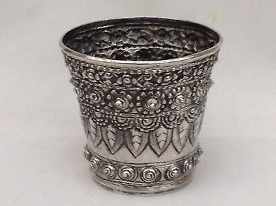 Antique Solid Silver Cup Or Beaker, Probably Indian/Burmese