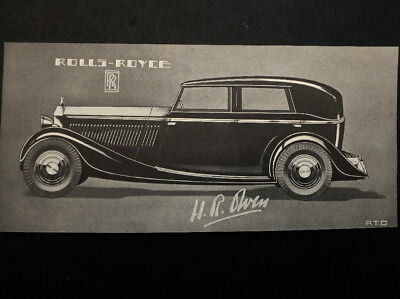 Old Ink Blotter Features Rolls Royce Four Door Sedan ca. 1930s