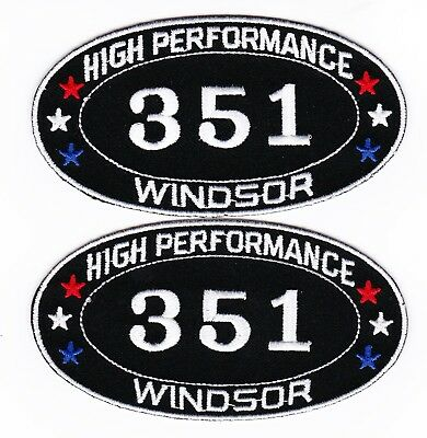 Two 351 Windsor Sew/iron On Patch Badge Emblem Embroidered Mustang Racing