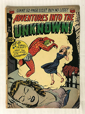 Adventures Into The Unknown #16 - (1948) Nightmare Cover! Low Grade Golden Age!