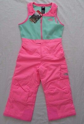 New The North Face Kids Insulated Ski Bib Gem Pink Toddler Girl's Size 5