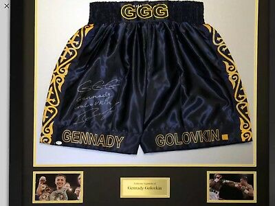 Gennady Golovkin Signed And Framed Custom Boxing Trunks: Online Authentics Proof