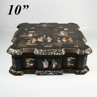 Antique Large Antique Napoleon III French Chinoise Box, Casket, Mother of Pearl