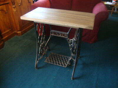 Antique Singer Sewing Machine Breakfast or Side Table Cast Iron Base Oak Top