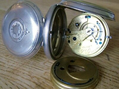 Antique Graves Express English Lever Gents 1902 Solid Silver Pocket Watch Works