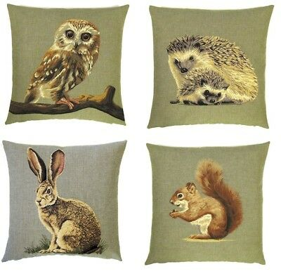 "FOREST ANIMALS OWL SQUIRREL HEDGEHOG HARE TAPESTRY CUSHION COVERS 18"" x 18"""