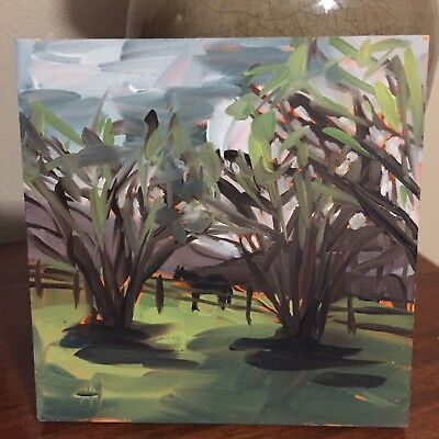 Horse Pasture and Lilac Bushes original oil painting by Angela Moulton 6x6 inch