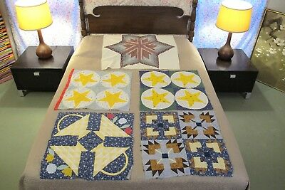 5 Vintage Quilt BLOCKS: One Big LONE STAR, 2 Five-Point Stars, Bear Paw, Basket