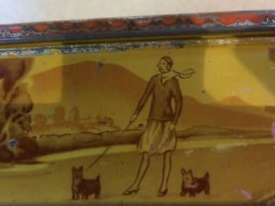 Vintage Tin 1920s or 1930s Woman with dogs Rare