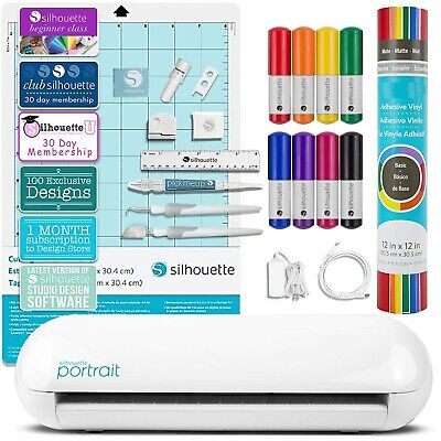 Silhouette Portrait 2 Craft Bundle with Vinyl, Pens, Tools, Class, and Membershi