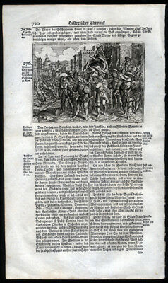 1743 History of The Germanic People Woodcut of Roman Bread Riot of 276 AD