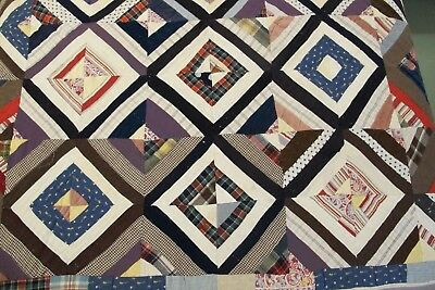 FULL Vintage Hand Sewn Gee's Bend Style STRING QUILT, Printed Feed Sack Backing!
