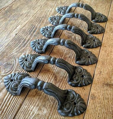 Six (6) Lg Cast Iron Handles Drawer Pulls Rustic Brown Metal Vintage Style 8""