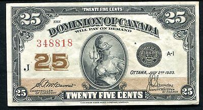 "1923 25 Twenty Five Cents Dominion Of Canada"" Shinplaster Banknote"