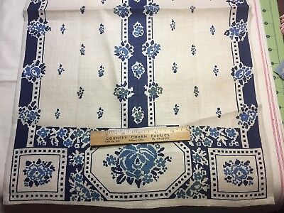 Vintage 40s50s Linen Kitchen PRETTY Blue Roses TOWEL TOWELING USUSED