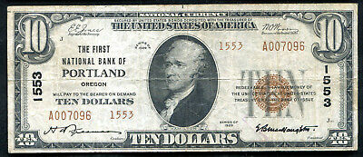 1929 $10 Tyii First National Bank Of Portland, Or National Currency Ch. #1553