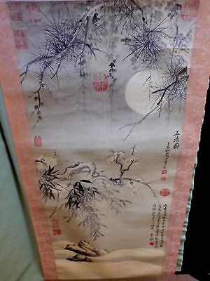 Beautiful Vintage CHINESE PRINTED SCROLL, Well Marked and Signed in the image